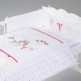 Klups Posteljina za Bebe set 5 Delova Night Birds Pink