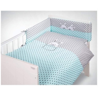 Klups Posteljina za Bebe set 5 Delova Little Bunnies Blue
